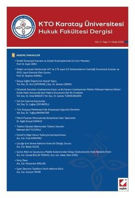 KTO Karatay Ünv. Hukuk Fk. Sayı 1 Cilt 1 Ocak 2016