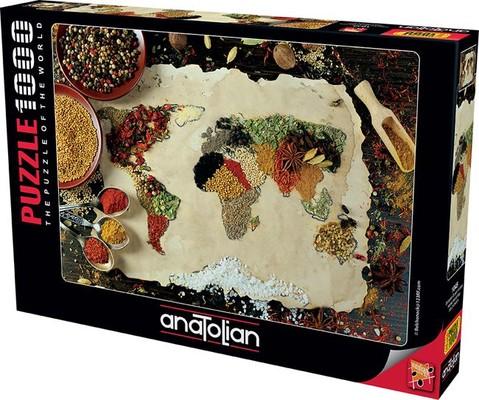 Anatolian Puzzle Baharatlı Dünya Haritası 1000 Parça 1045