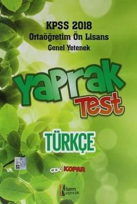 KPSS 2018 Ortaöğretim Ön Lisans Türkçe Yaprak Test