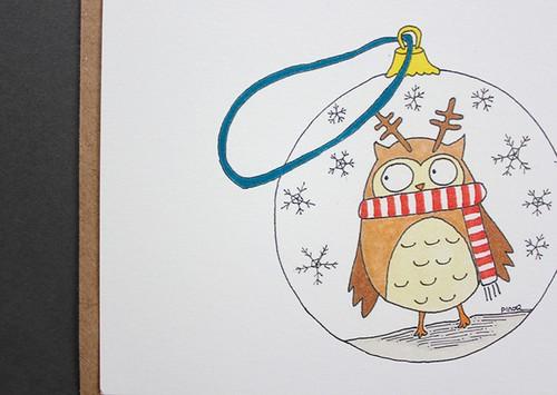 Paper Yılbaşı Kartı - Kar küresi Baykuş