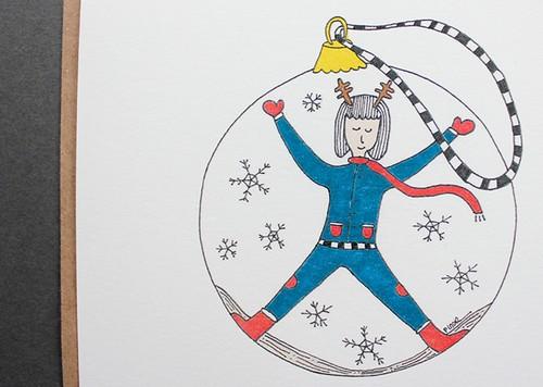 Paper Yılbaşı Kartı - Kar küresi Kız