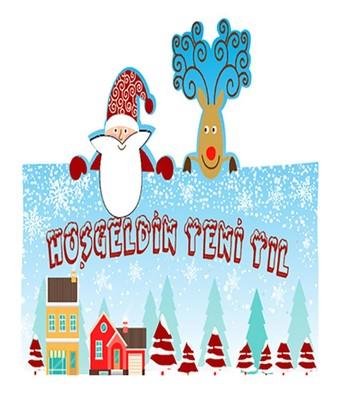 Noel Baba Geyik Ahşap Hediyelik Kart