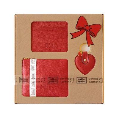 Leather & Paper Kırmızı Renk Deri Aksesuar Hediye Seti