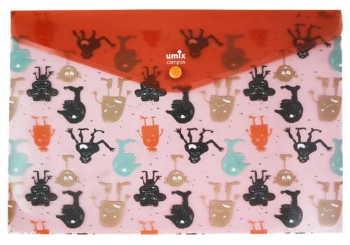 Umix Çıtçıtlı Şeffaf Zarf Dosya A4 Fun Desenli