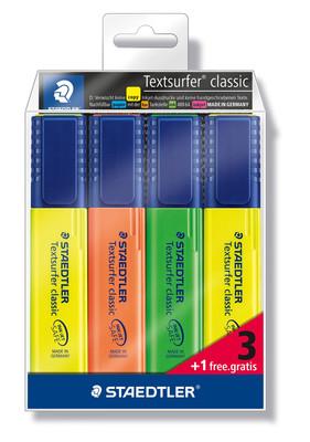 Staedtler 364-S Wp4P Texsurfer Classic Highlighter 3 Renk +1 Bedelsiz