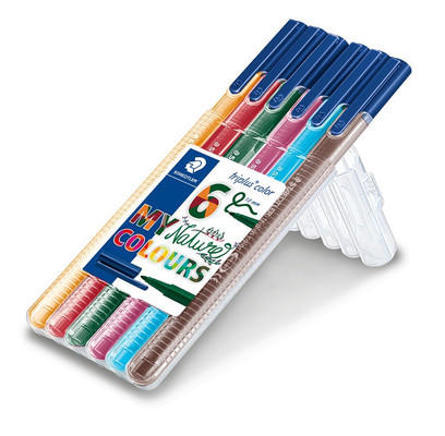 Staedtler 323 Sb6Cs2 Triplus Color Üçgen Keçeli Kalem Natural Renkler 1.0 Mm 6'Li Set