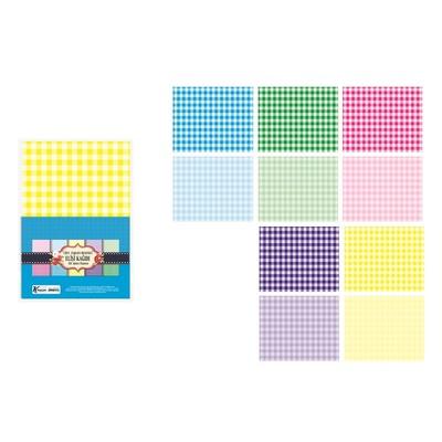 K.Color Çift Tararflı Elişi Kağıdı Ekose 10Lu