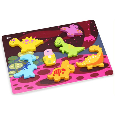 Cl.World-Ahşap Dinazor Oyuncaklı Yapboz 3D 3552
