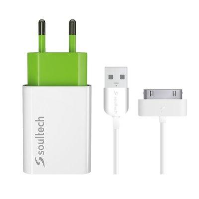 Soultech Comfort iPhone 4 Seyahat Şarj Cihazı ve Kablo 1100 Mah Beyaz SC013B