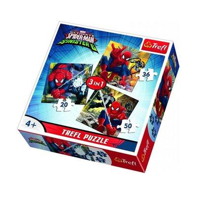 Trefl-Puzzle 3in1 Spiderman's World/Disney Marvel Spiderman 34822