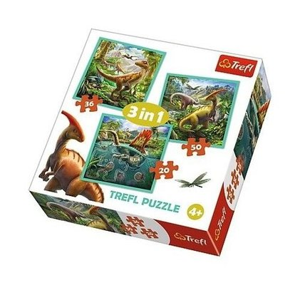 Trefl-Puzzle 3in1 The Extraordinary World Of Dinosaur 34837