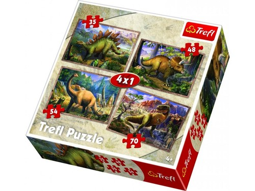 Trefl 34249 4'ü 1 Arada Dinosaurs Puzzle