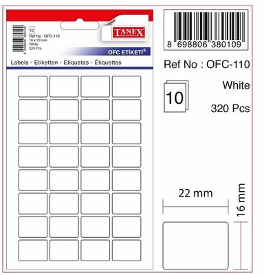 Tanex Ofis Etiketi Beyaz Ofc-110 10'lu