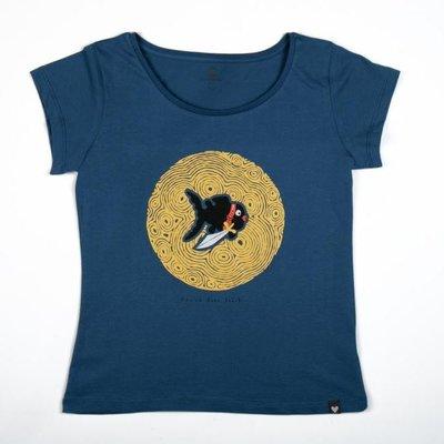 Can Dükkan T-Shirt Kadın M Küçük Kara Balık (Sarı Desen)