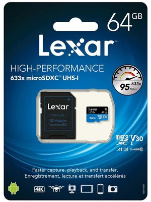 Lexar 64GB microSDXC UHS-I High Speed with Adapter (C 10