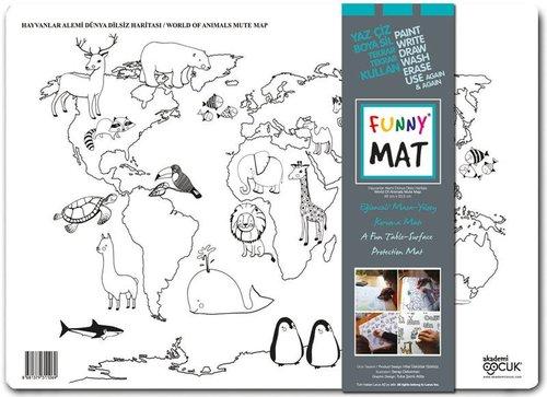 Akademi Çocuk Funny Mat - Dünya Dilsiz Haritası - Hayvanlar Alemi