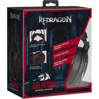 Redragon  Derilium Oyuncu Kulaklık siyah+kırmızı 2 m kablo