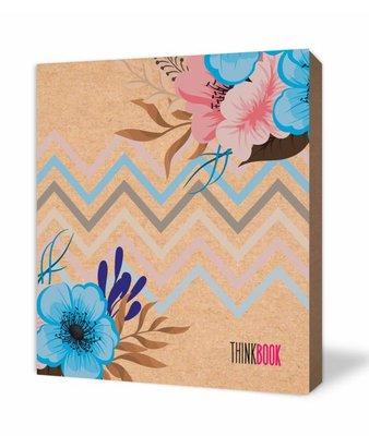 Thinkbook Natura Kraft Mavi Çiçek 9x10 Defter