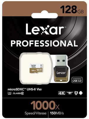 Lexar Professional 1000x microSDHC /microSDXC  UHS-II, up to 150MB/s read 90MB/s write