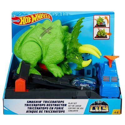 Hot Wheels Şehir Seti Dev Triceratops Fırlatıcı ve Araçlı Oyun Seti GBF97