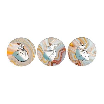Keskin Color 3'lü Cam Magnet Yaldızlı Semazen