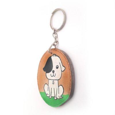 Pan Dizayn Ahşap El Boyaması Anahtarlık Beyaz Köpek