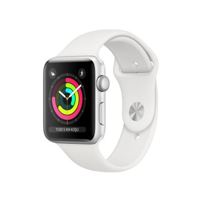 Apple Watch Series 3 GPS 38 mm Gümüş Rengi Alüminyum Kasa ve Beyaz Spor Kordon MTEY2TU/A