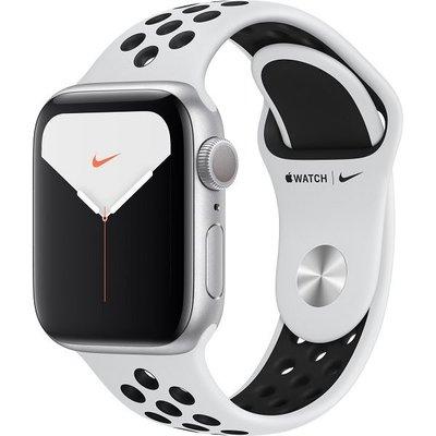 Apple Watch Nike Seri 5 GPS, 40mm Gümüş Alüminyum Kasa ve Pure Platinum/Siyah Nike Spor Kordon MX3R2TU/A