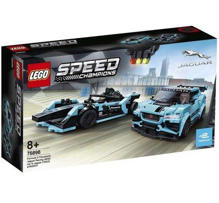 Lego Speed Champions Formula E Panasonic Jaguar Racing Gen2 araba ve Jaguar I-PACE eTROPHY 76898