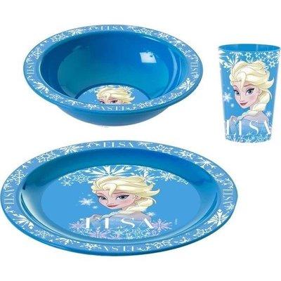 Herevin Desenli Kahvaltı Seti Elsa - Plastik Kase Tabak Bardak Seti