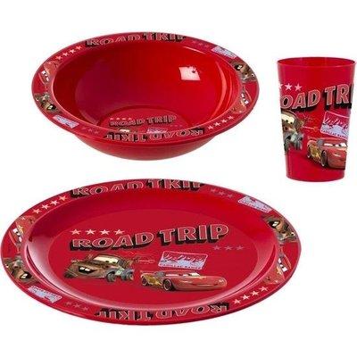 Herevin Desenli Cars Kahvaltı Seti - Plastik Kase Tabak Bardak Seti