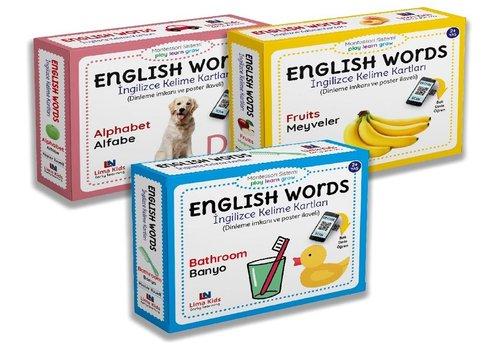 English Words - İngilizce Kelime Kartları Seti  -  3 Kitap Takım