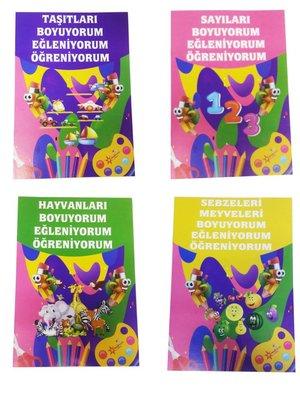 Çocuklar İçin Eğlenceli Eğitici Boyama Seti - 4 Kitap Takım