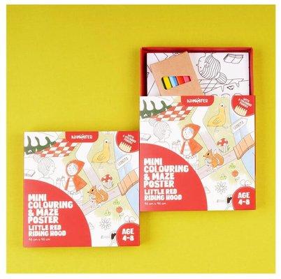 Kidmosfer Kırmızı Başlıklı Kız - Boyama ve Labirent Poster