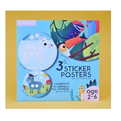 Kidmosfer - 3'lü Sticker Poster - Orman Kutup ve Çiftlik Arkadaşları