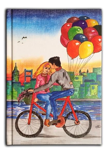 Bisikletli çift Uçan Balonlar Defter 80 Yaprak 1420 Cm Dr